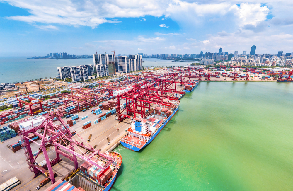 Container port in Haikou, Hainan, one of China's free trade zones